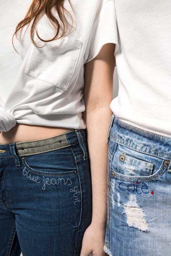Żyj pięknie - Wyhaftuj napis na dżinsach