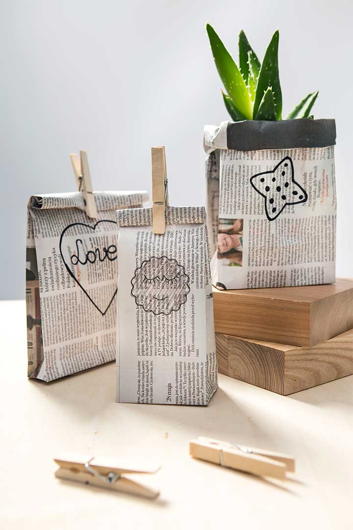 Żyj pięknie - Zrób torebki prezentowe zero waste z gazet